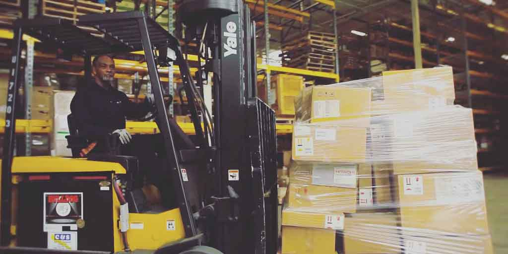 Forklift in Excel Courier's warehouse