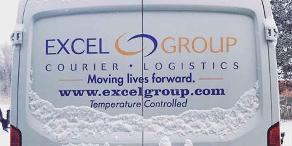 Snow on an Excel Courier delivery van: Temperature Controlled